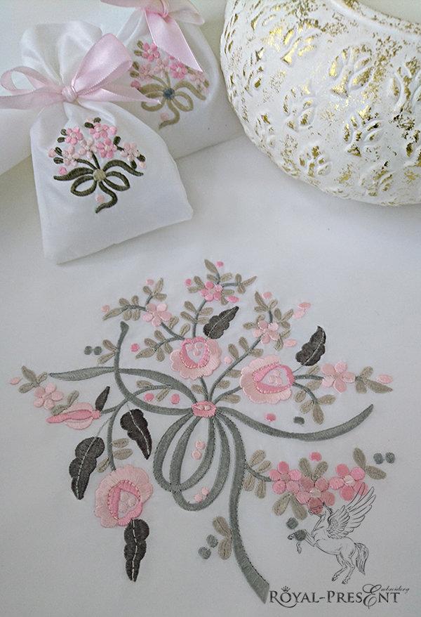 Дизайн для машинной вышивки Два букетика цветов