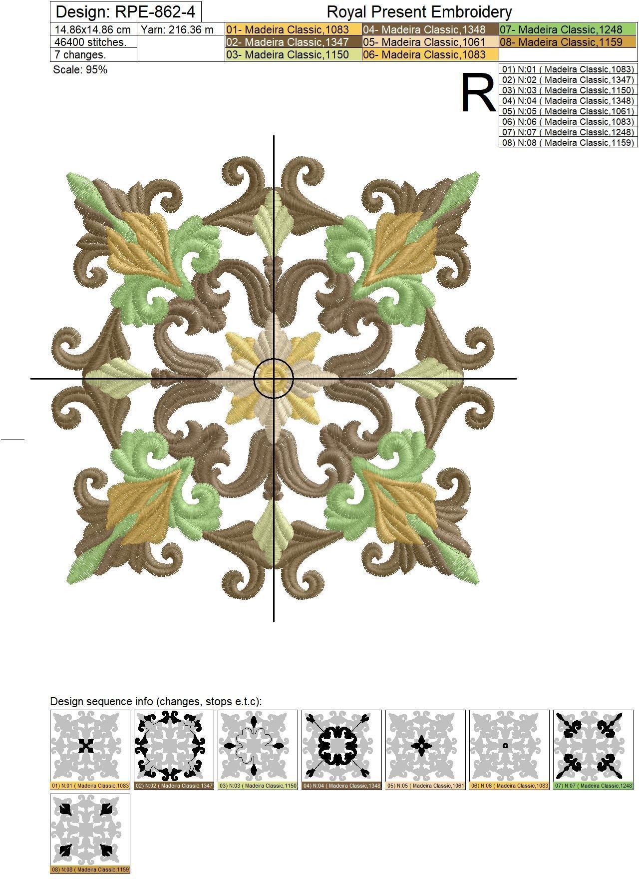 Дизайн машинной вышивки Классический Квилт блок - 7 размеров