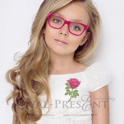 Дизайн машинной вышивки Красная роза - 3 размера