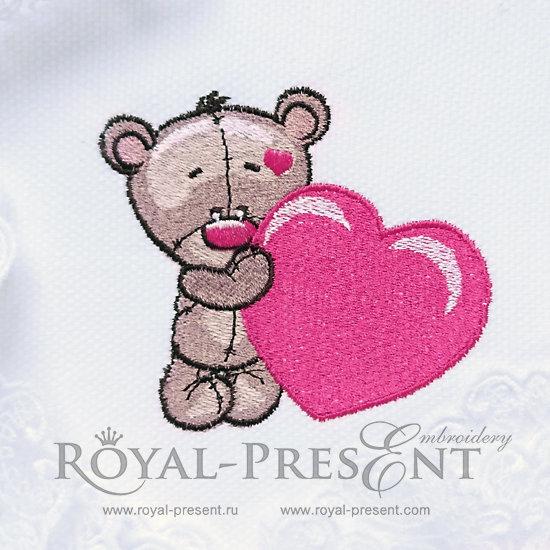 Дизайн машинной вышивки Мишка Тедди с сердечком - 2 размера