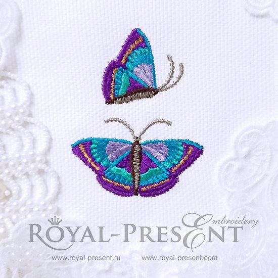 Дизайны машинной вышивки Пурпурные бабочки RPE-573