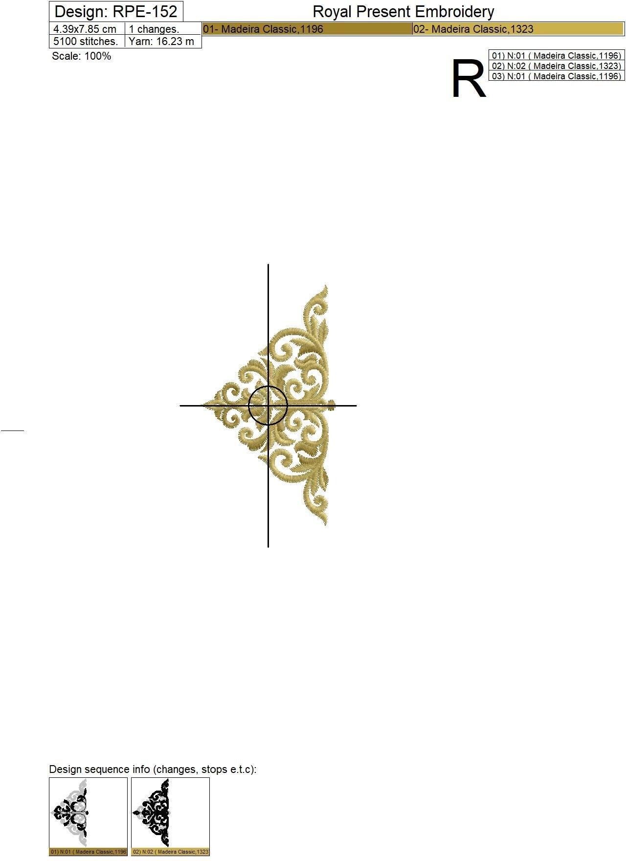 Дизайн машинной вышивки Прорезь для пуговиц барокко