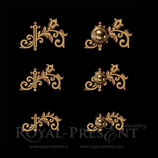 Дизайны вышивки Прорезь для пуговиц барокко RPE-152-2