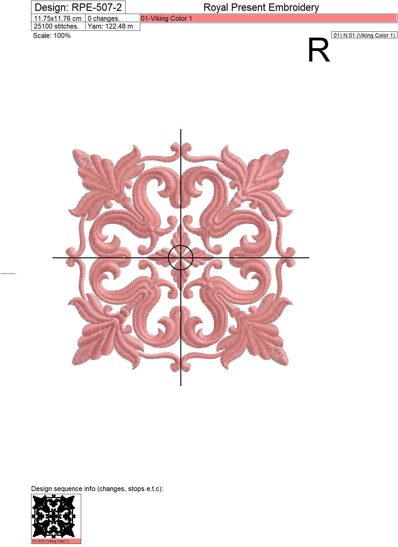 Дизайн машинной вышивки Квилт блок бежевый - 3 размера