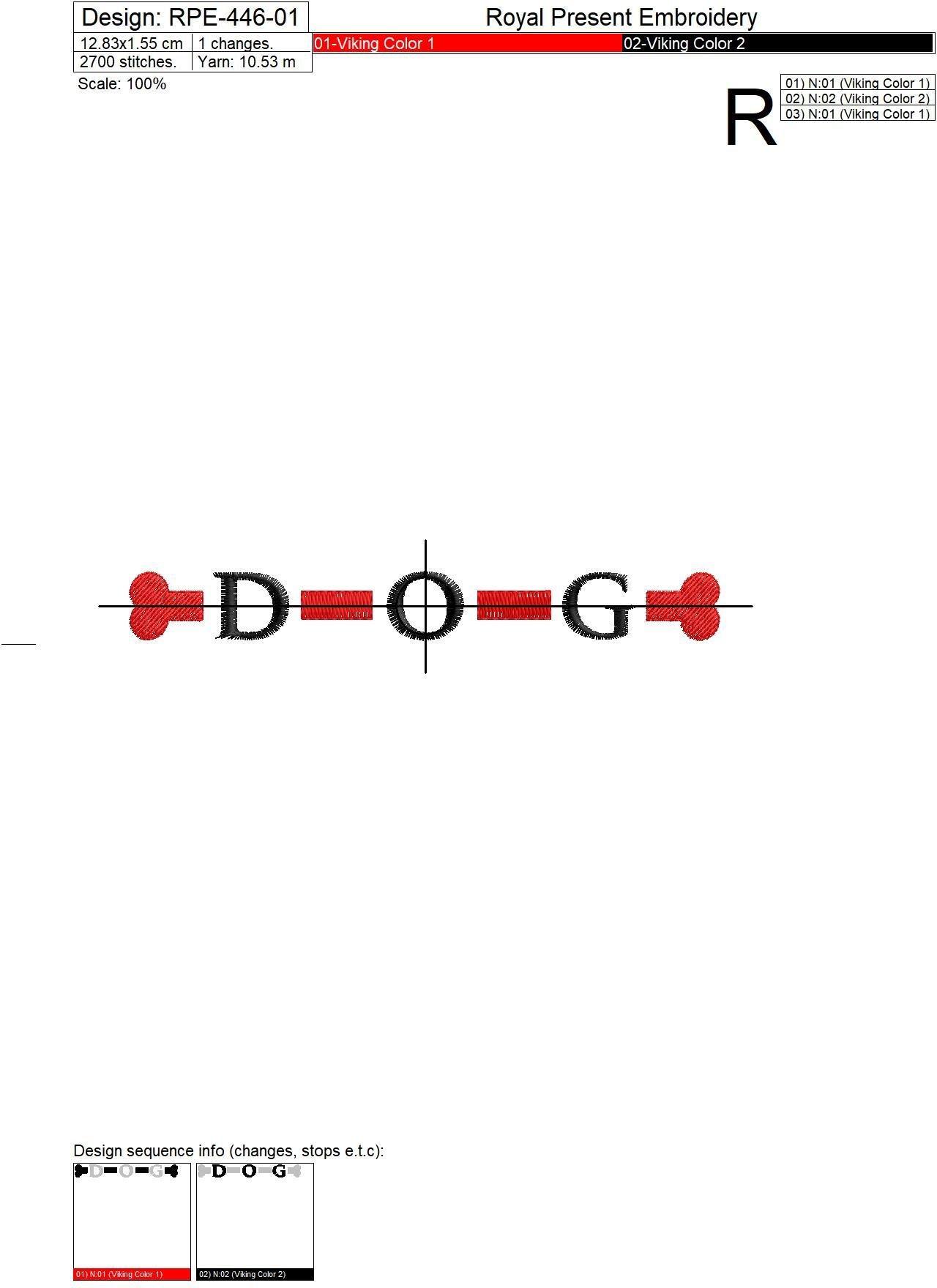 Дизайн машинной вышивки бесплатно надпись DOG - 3 размера