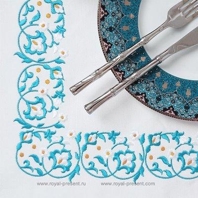 Восточный Дизайн машинной вышивки для бордюра - 2 размера