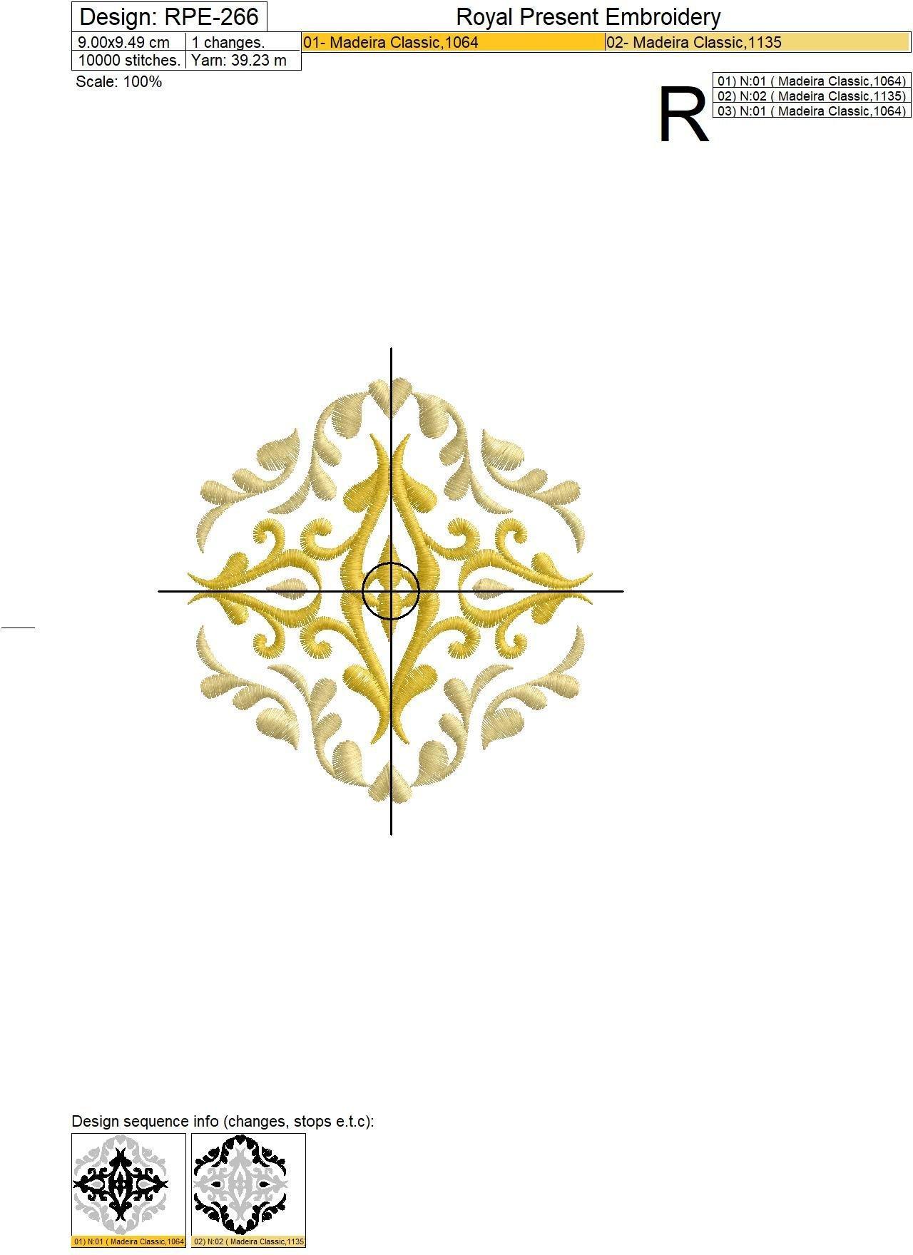 Дизайн машинной вышивки Фрагмент орнамента бесплатно