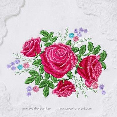 Дизайн машинной вышивки букет садовых роз - 2 размера