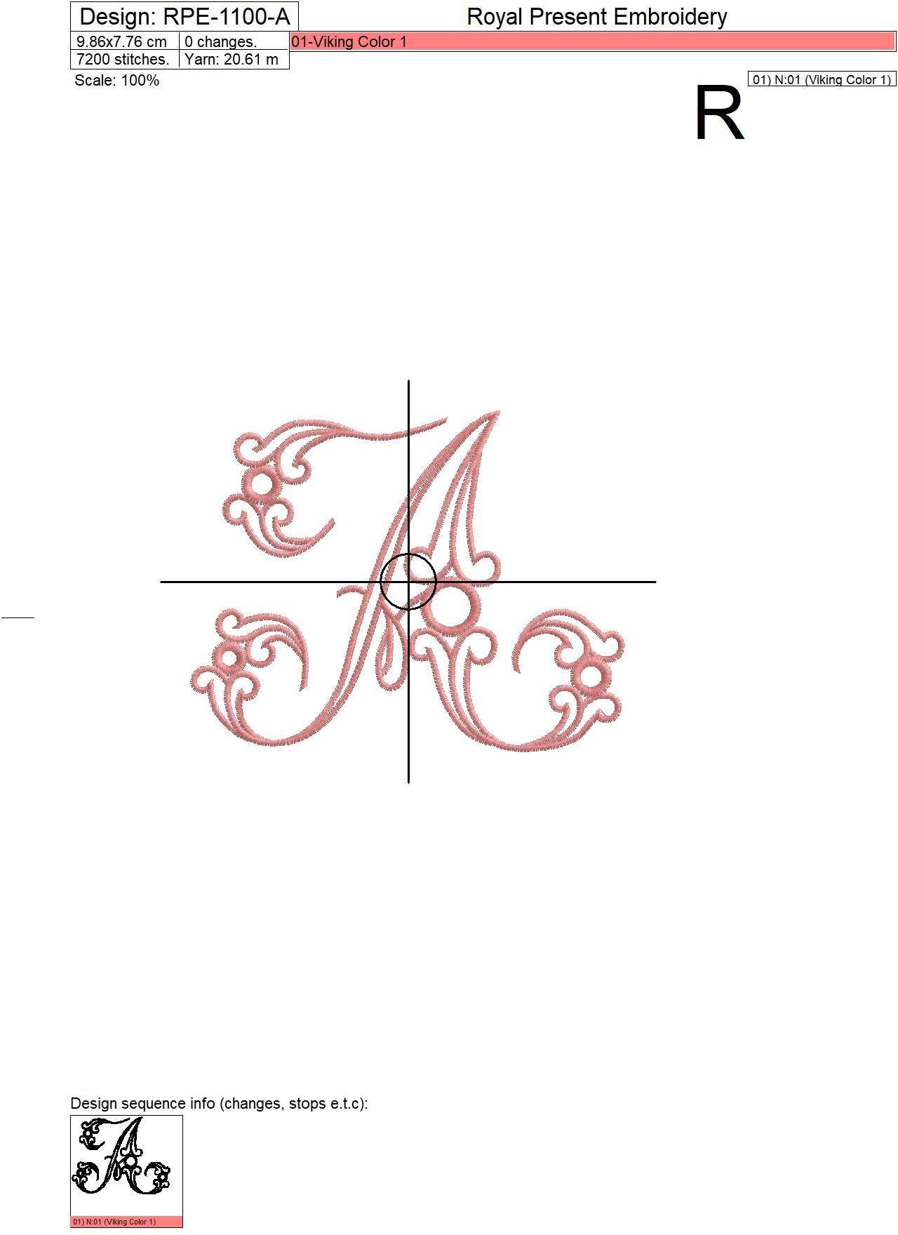 Дизайн машинной вышивки бесплатно Заглавная буква А