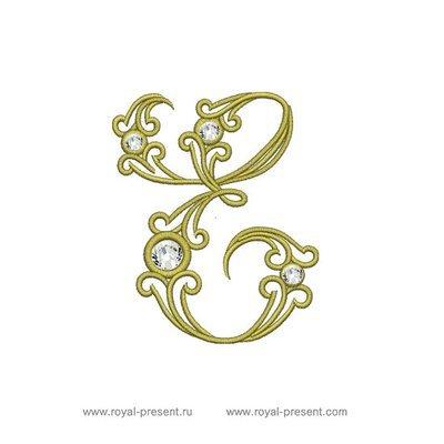 Дизайн машинной вышивки Заглавная буква Е