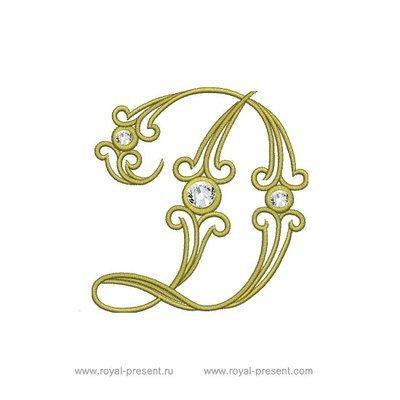 Дизайн машинной вышивки Заглавная буква D