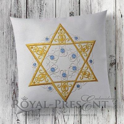 Дизайн машинной вышивки Звезда Давида