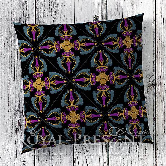 Дизайн для машинной вышивки Тибетский орнамент Ваджра RPE-279