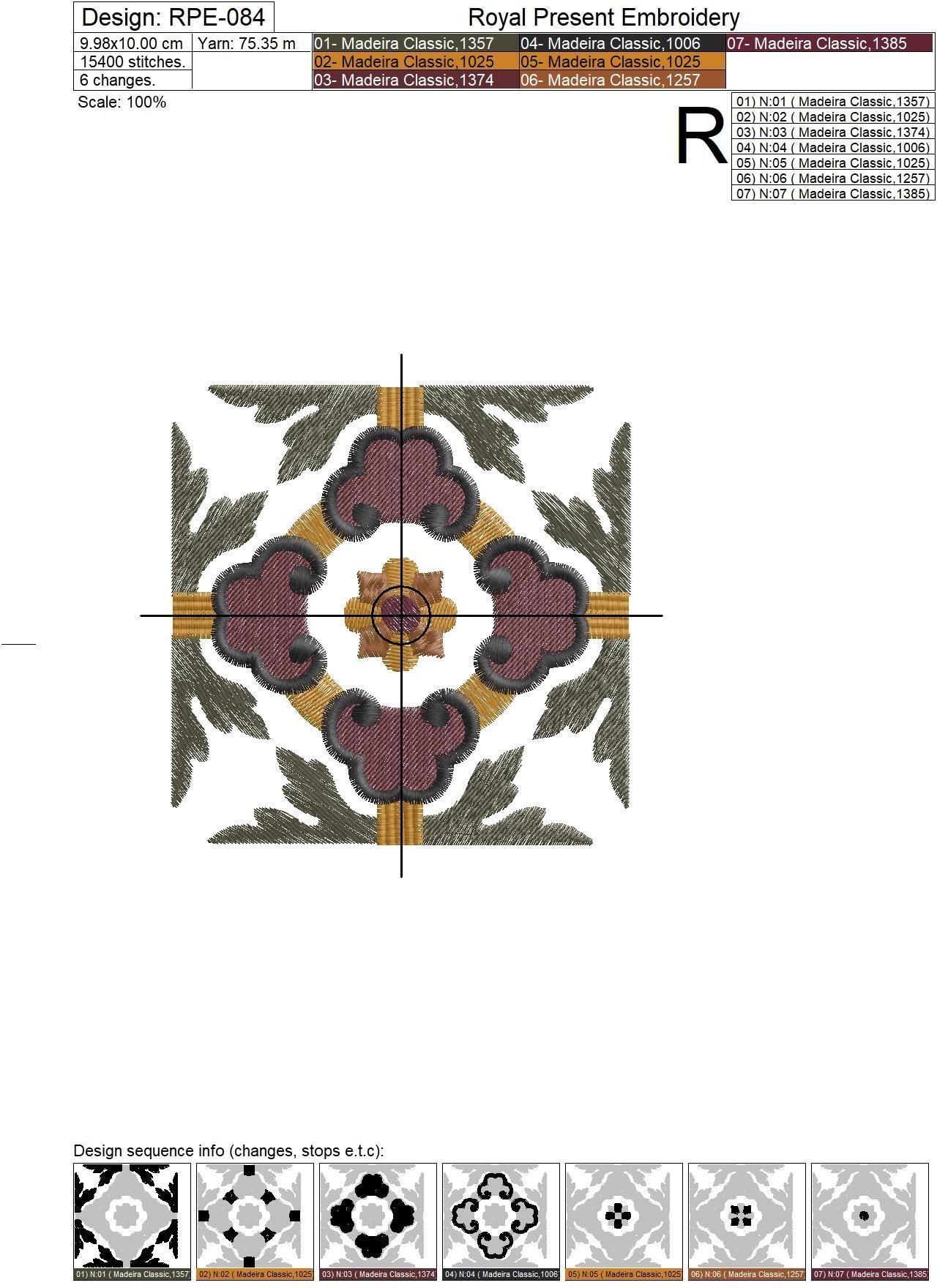 Дизайн машинной вышивки Классический винтажный орнамент