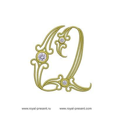 Дизайн машинной вышивки Заглавная буква Q