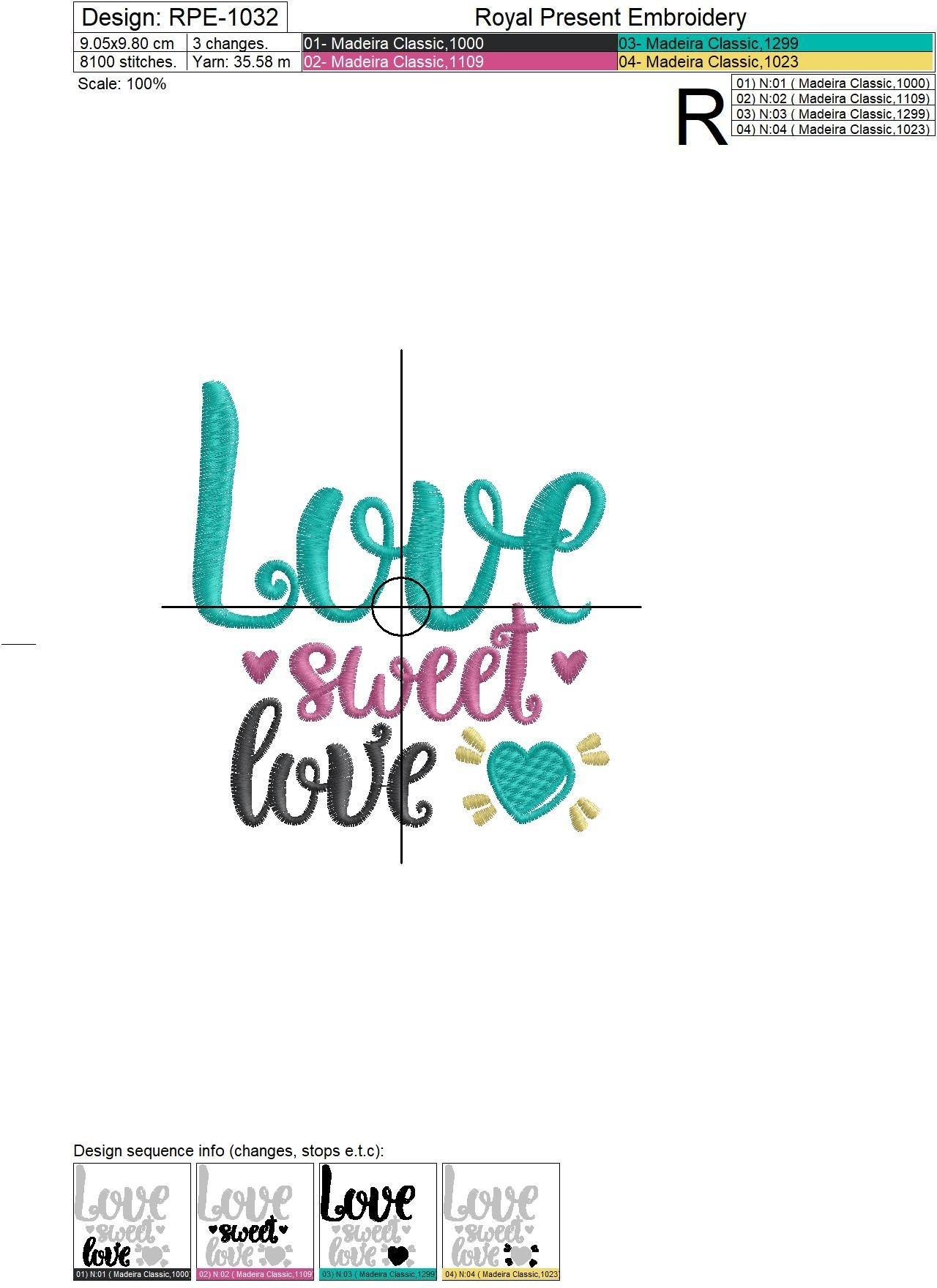 Дизайн машинной вышивки бесплатно Сладкая любовь