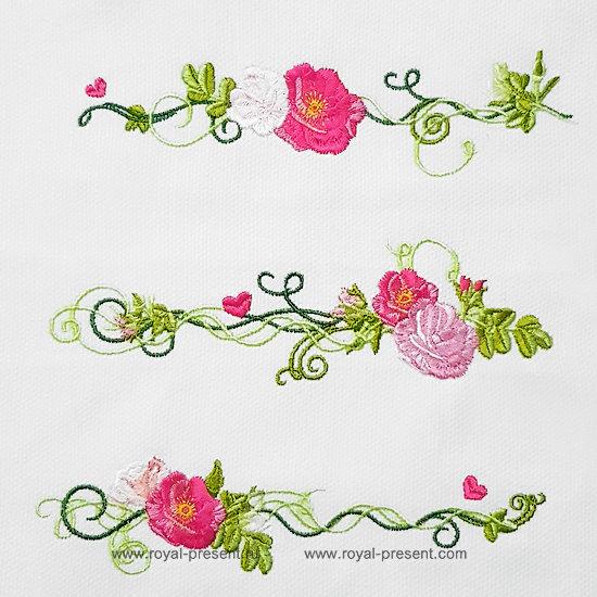 Набор дизайнов машинной вышивки Чайные розы - 4 размера