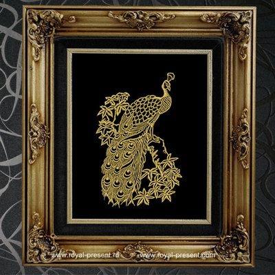 Дизайн машинной вышивки Золотой Павлин
