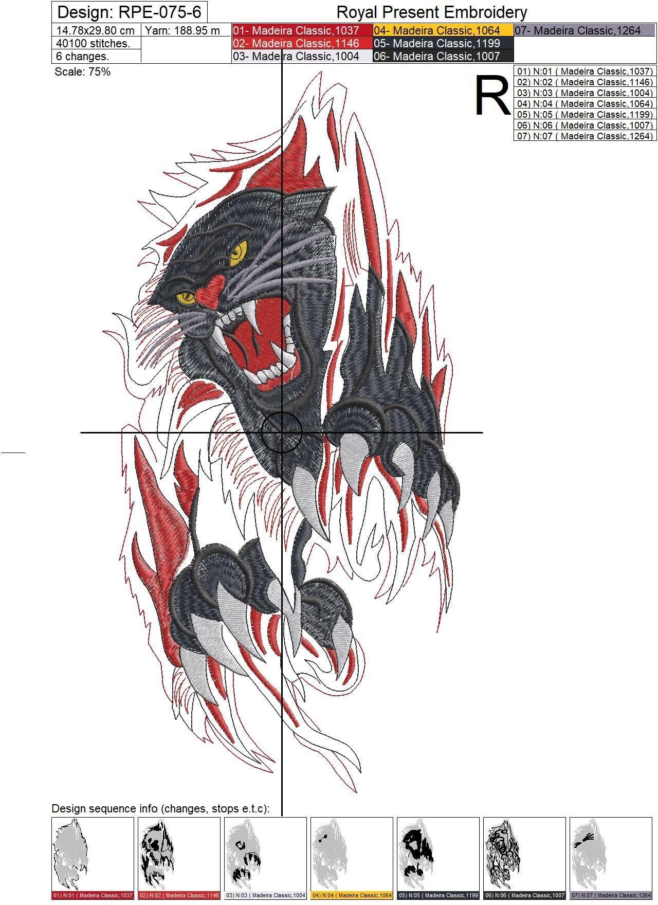 Черная пантера Дизайн машинной вышивки - 6 размеров