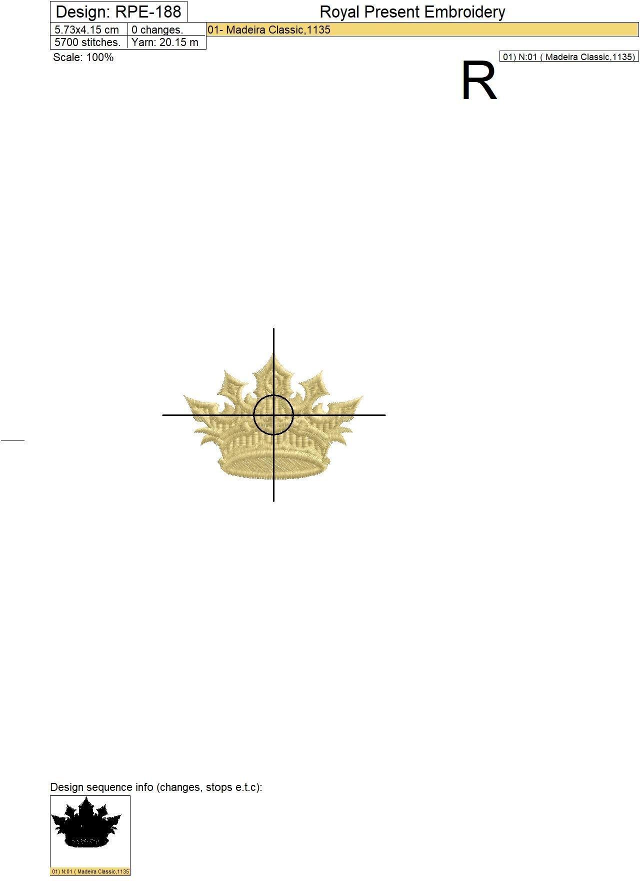 Корона Дизайн машинной вышивки - 3 размера