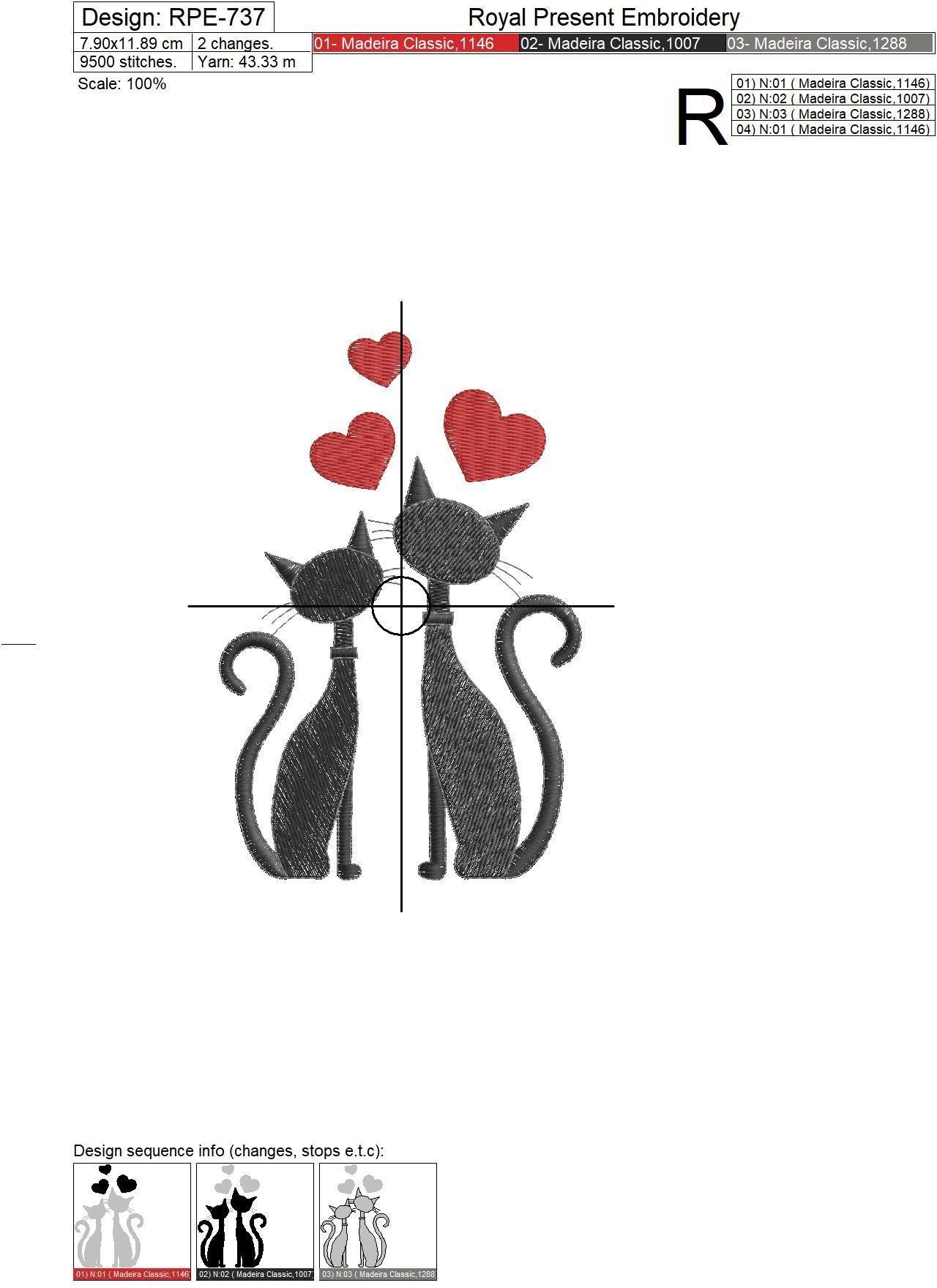 Дизайн машинной вышивки Влюбленные коты - 3 размера