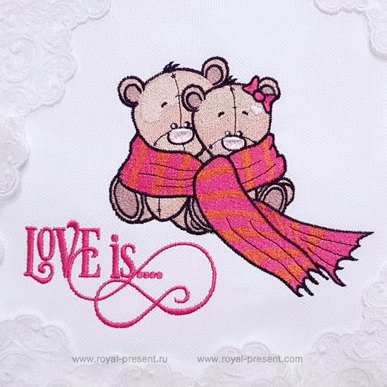 Дизайн машинной вышивки Влюбленные Мишки