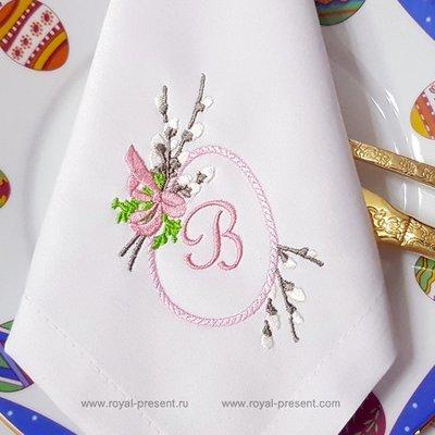 Дизайн машинной вышивки Пасхальное яйцо с вербой