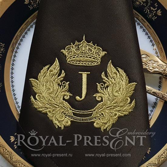 Дизайн машинной вышивки Ретро обрамление для монограммы в стиле барокко RPE-445