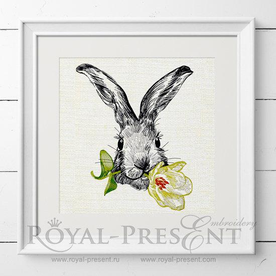 Дизайн вышивки Кролик с тюльпаном