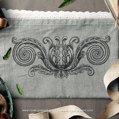 Дизайн машинной вышивки Винтажный элемент декора - 3 размера