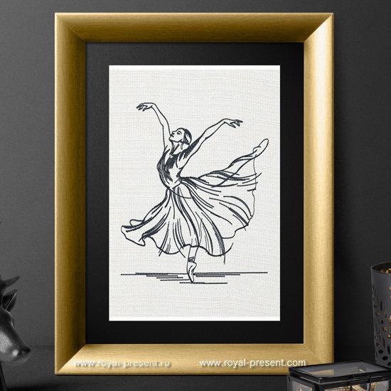 Дизайн машинной вышивки Балерина - 3 размера RPE-867