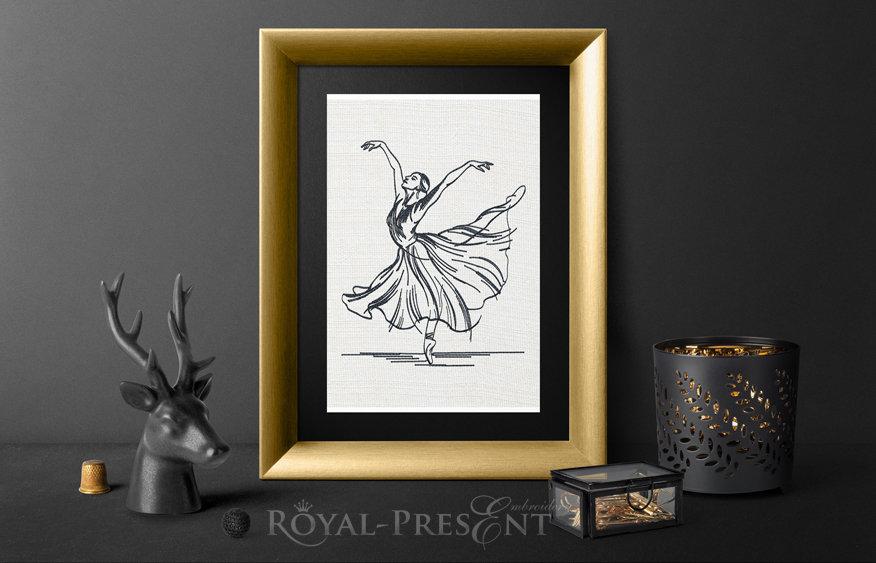 Дизайн машинной вышивки Балерина - 3 размера