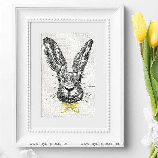 Дизайн вышивки Кролик в бабочке