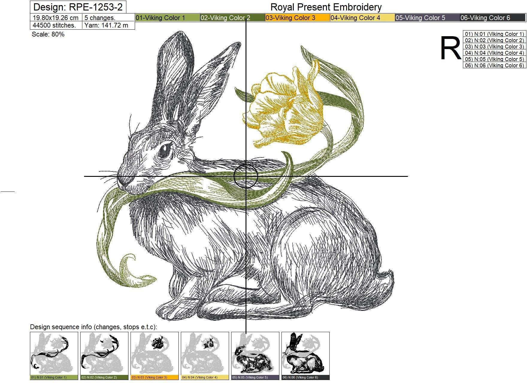 Дизайн машинной вышивки Весенний Кролик с тюльпаном - 3 размера