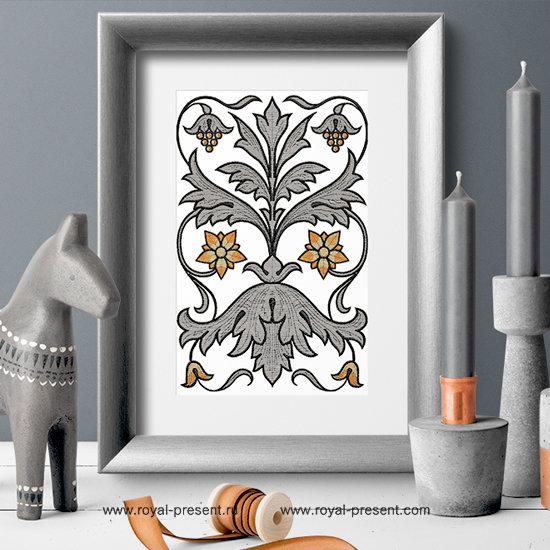Дизайн машинной вышивки Винтажный орнамент 19 века RPE-377
