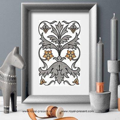 Дизайн машинной вышивки Винтажный орнамент 19 века