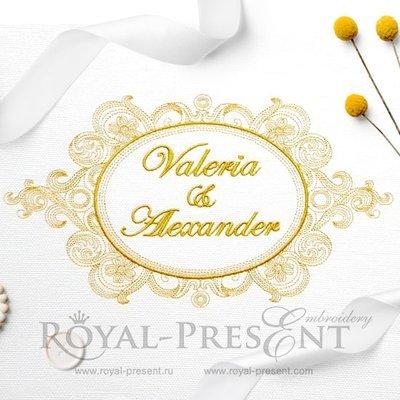 Дизайн машинной вышивки Винтажная рамка для монограммы времен королевы Виктории
