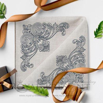 Дизайн вышивки Винтажный угловой элемент в стиле старинной гравюры - 3 размера
