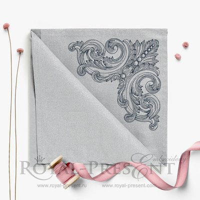 Дизайн машинной вышивки Угловой элемент в стиле старинной гравюры