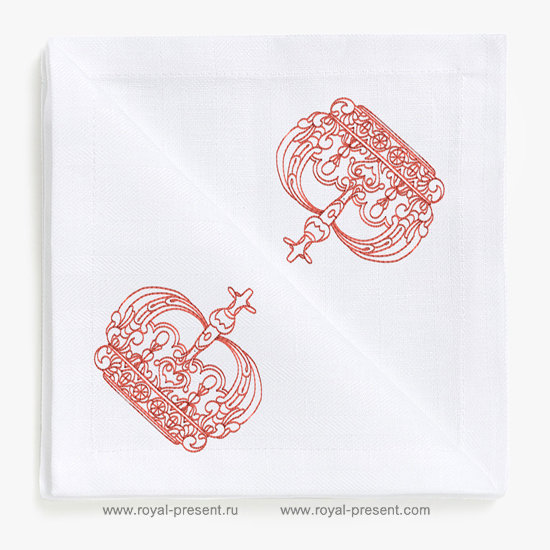Дизайн машинной вышивки в стиле REDWORK Корона №2 RDL-007-02
