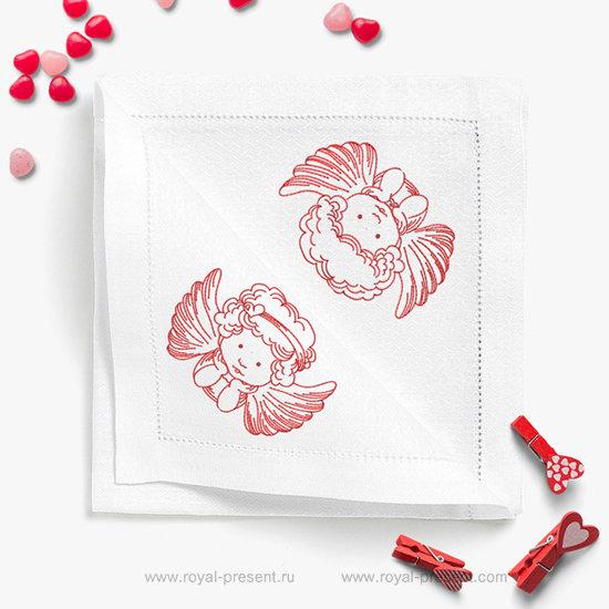 Коллекция дизайнов машинной вышивки Маленькие Ангелы Redwork RPE-699