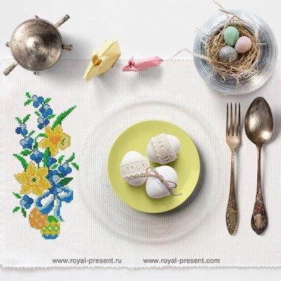Дизайн машинной вышивки крестом Нарциссы и пасхальные яйца