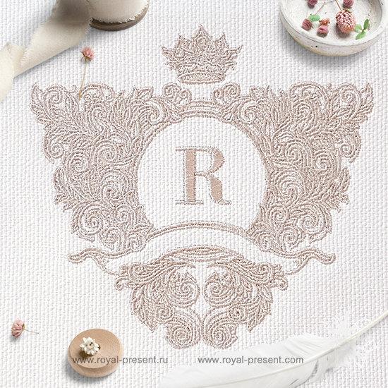 Дизайн машинной вышивки Барокко обрамление с короной контурное RPE-1243