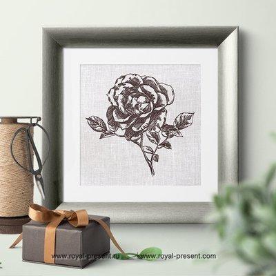 Дизайн машинной вышивки Винтажная роза - 4 размера