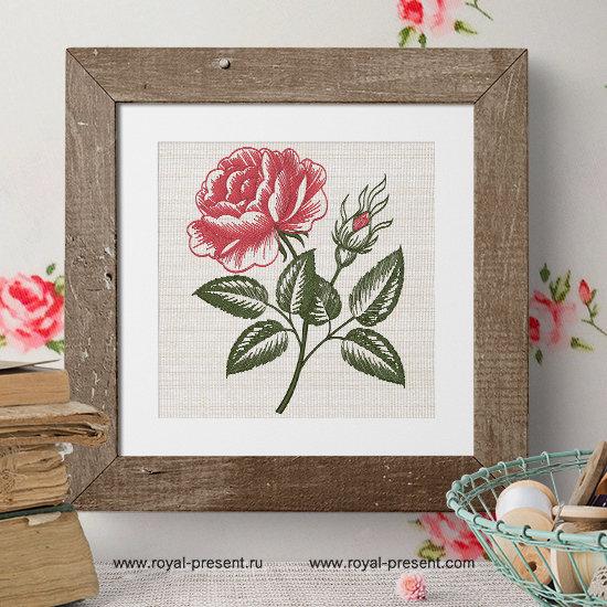 Роза в стиле гравюры викторианской эпохи дизайн вышивки