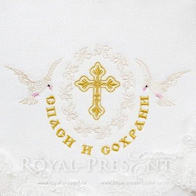 Дизайн вышивки Крест с надписью Спаси и Сохрани
