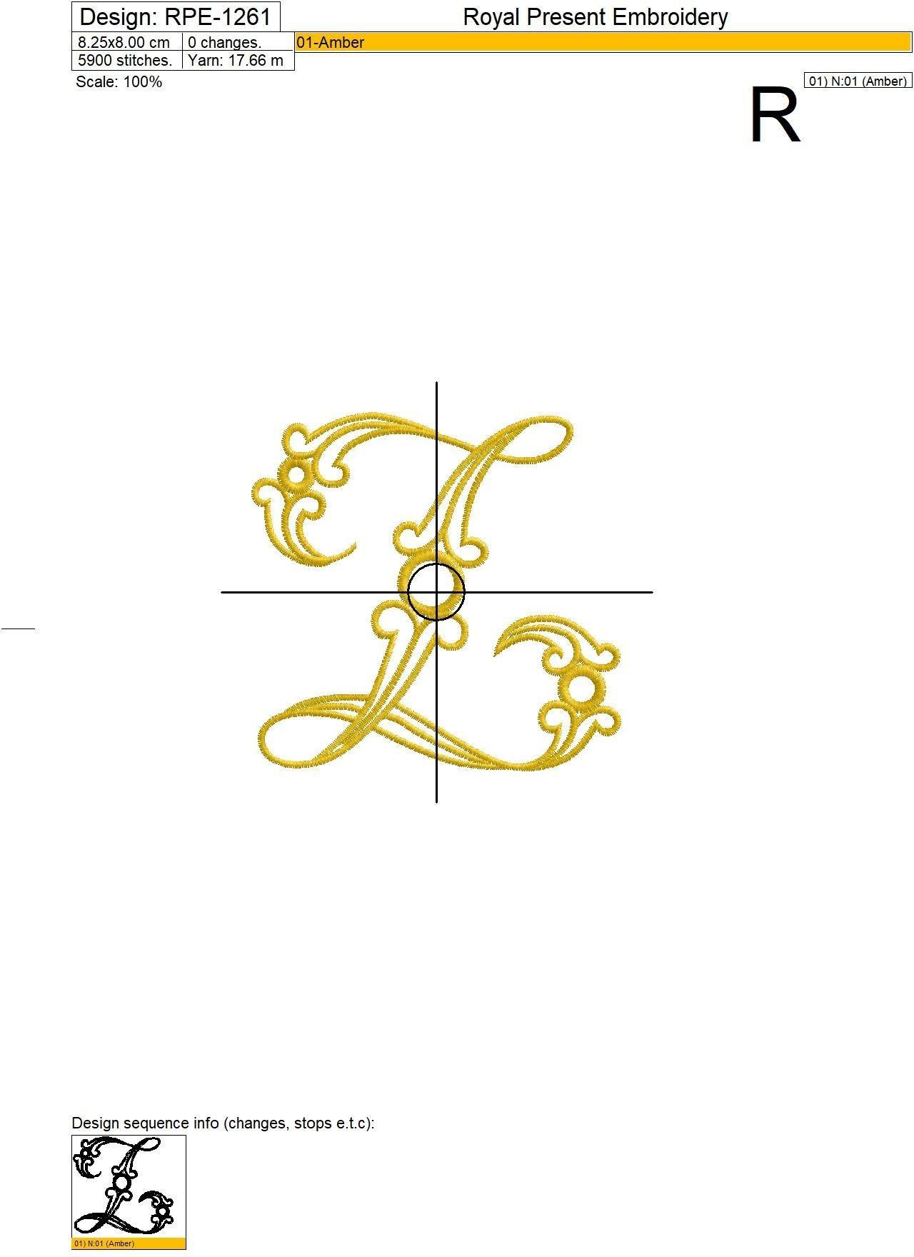 Дизайн машинной вышивки Заглавная буква Z