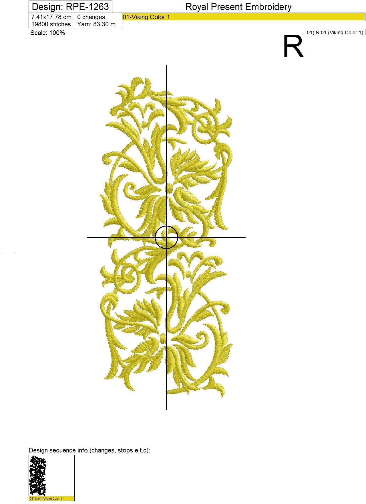 Дизайн вышивки Золотой бордюр - 3 размера