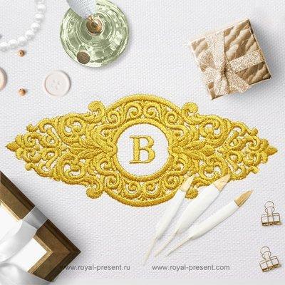 Дизайн вышивки Барокко рамка для монограммы