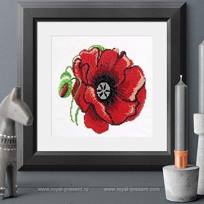 Дизайн вышивки крестом Цветок мака